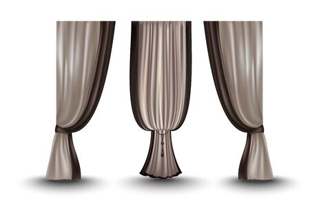 Set of realistic pleated curtains. Vector illustration