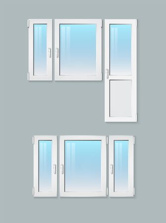 Three-section window with and without a door. Vector illustration