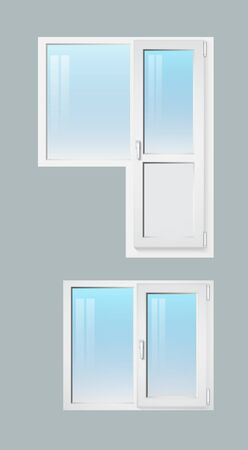 Two-section window with and without a door. Vector illustration Illusztráció