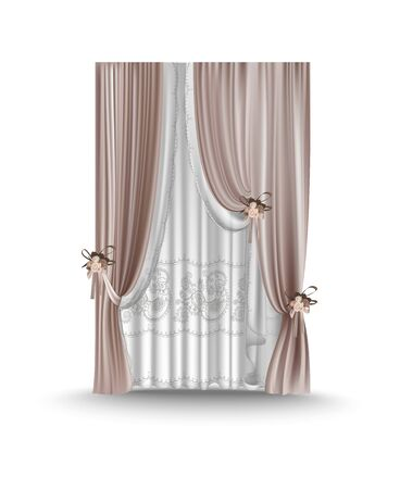 Window decoration. Curtains and tulle. Vector illustration