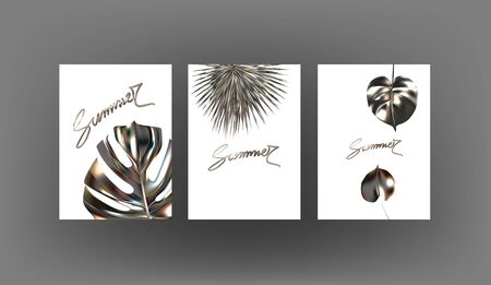 Banners with metallic tropical leaves. Vector illustration