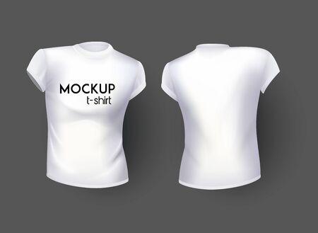 T-shirt female realistic white mock up. Vector illustration Illusztráció
