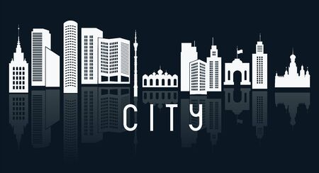City buildings silhouettes. Vector illustration Stock fotó - 148239788