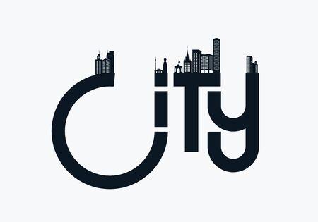 City  with letters and city silhouettes. Vector illustration Illusztráció