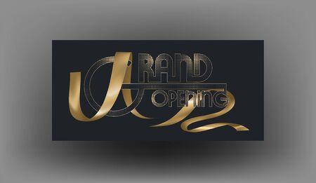 Grand opening invitation card  and realistic gold ribbon. Vector illustration Illusztráció