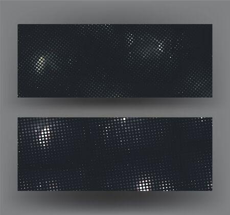 Horizontal banners with halftone metallic pattern. Vector illustration Illusztráció