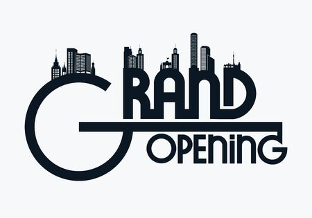 Grand opening  with silhouettes of the city. Vector illustration