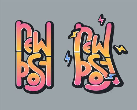 New post stright and warped letterings with lightnings in cartoon style. Vector illustration