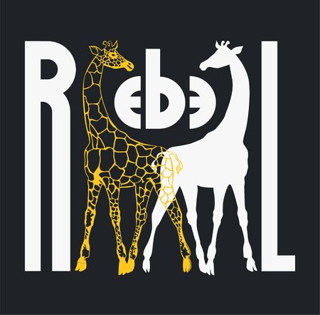 Poster with giraffes silhouettes. Rebel concept.T shirt design. Vector illustration
