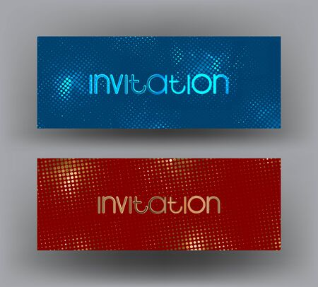 Sparkling invitation cards with halftone metallic pattern n the background. Vector illustration
