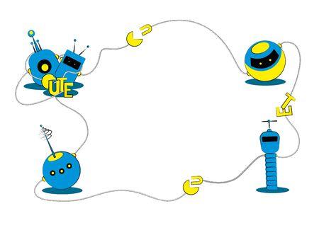 Cartoon frame made from cute robots. Vector illustration