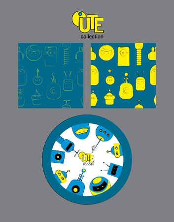 Cartoon style collection of seamless pattern and ornament with cute robots. Vector illustration 일러스트