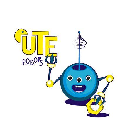 Cute cheerful blue round robot with radio antenna. Vector illustration Illusztráció