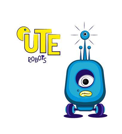 Cute sad blue robot- cyclops on wheels. Vector illustration