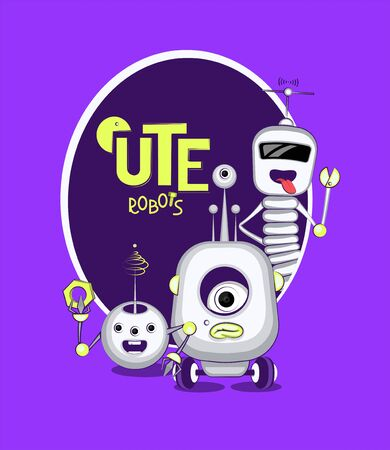 Cute white robots in cartoon style. Vector illustration