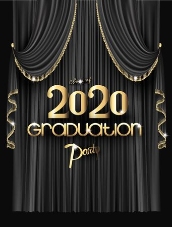 Elegant graduation party invitation card with black curtains with fringe. Vector illustration