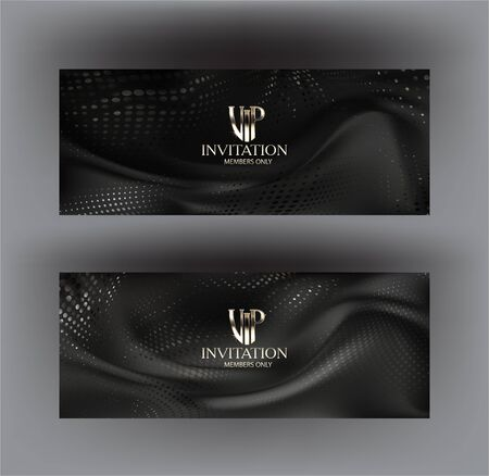 Elegant VIP banners with wavy halftone effect pattern. Vector illustration
