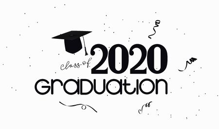 Graduation 2020 party poster in black and white style. Vector illustration