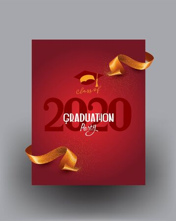 Graduation 2020 poster with lettering and gold ribbon. Vector illustration