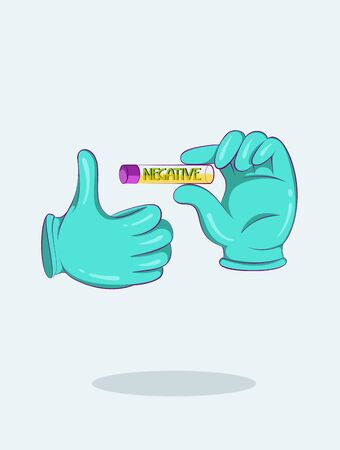 Hands in medical gloves show ampoule with negative result of test. Cartoon style. Vector illustration