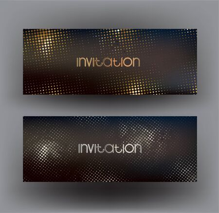 Invitation cards with rounded font and metallic halftone effect background. Vector illustration Illusztráció