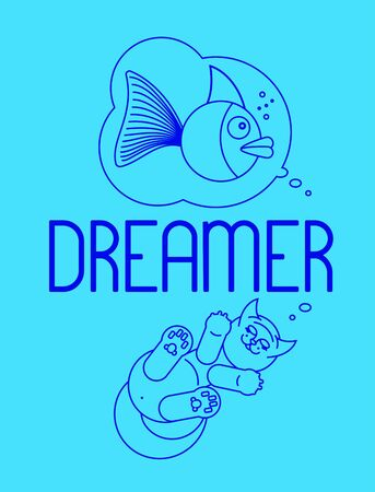Lettering DREAMER with line drawing of a cat dreaming of a big fish. Vector illustration. T-shirt design