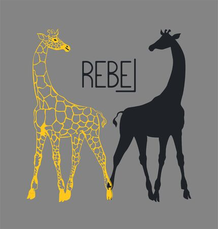 Poster with giraffes and lettering rebel. T shirt design. Vector illustration