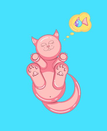 Sleeping pink cat dreaming about fish. Cartoon style. Vector illustration