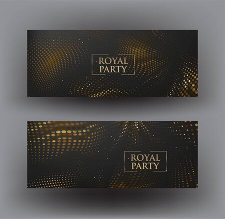 Vip invitation horizontal cards with wavy halftone effect. Vector illustration
