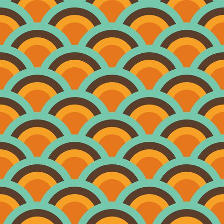 Retro Abstract Seamless Pattern, Geometric Background Repeat Pattern Orange, Yellow, Green