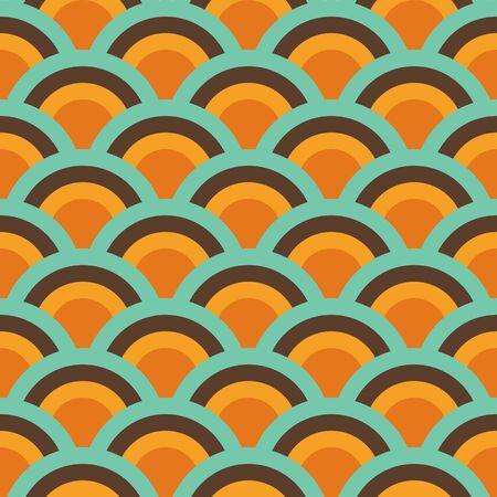 Retro Abstract Seamless Pattern, Geometric Background Repeat Pattern Orange, Yellow, Green