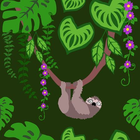 Sloth in Tropical Jungle Seamless Pattern, Tropical Rain Forest Background Repeat Pattern