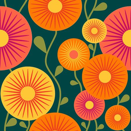 Retro Flowers Seamless Pattern, Retro Floral Orange and Quetzal Green Background Repeat Pattern