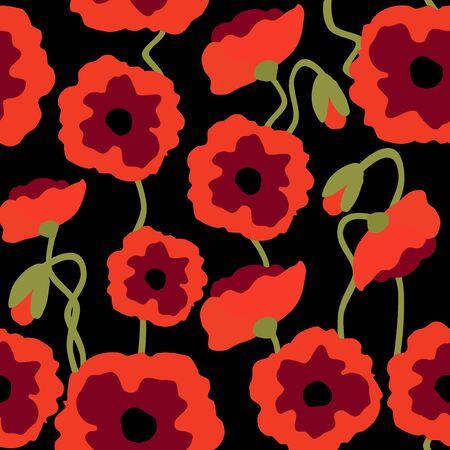 Modèle sans couture de fleurs de pavot, coquelicots rouges sur fond de motif de répétition florale noire