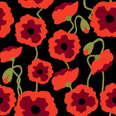 Poppy Flowers Seamless Pattern, Red Poppies on Black Floral Repeat Pattern Background