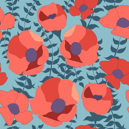 Poppy Flowers Seamless Pattern, Red flowers on turquoise green background repeat pattern