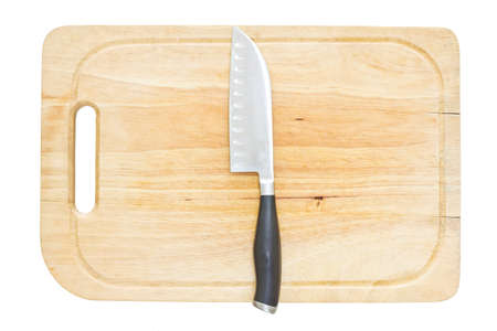 kitchen knife: Kitchen Knife on Cutting Board Stock Photo
