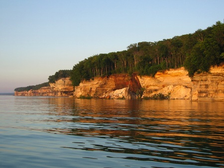 pictured: Tree topped cliffs of Pictured Rocks Northern Michigan 2 Stock Photo