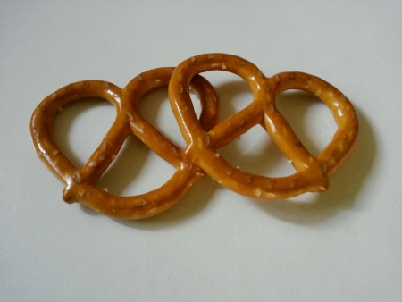 pretzels: Two baked pretzels