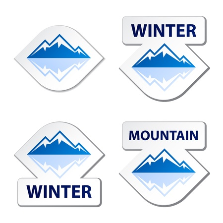 mountain holidays: vector winter blue mountain stickers Illustration