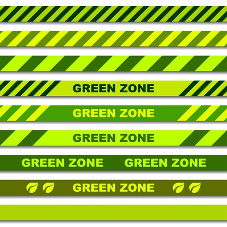 alert ribbon: vector green zone seamless caution tapes