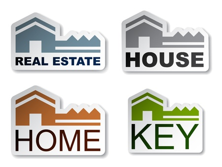 real estate icons: vector house key real estate stickers