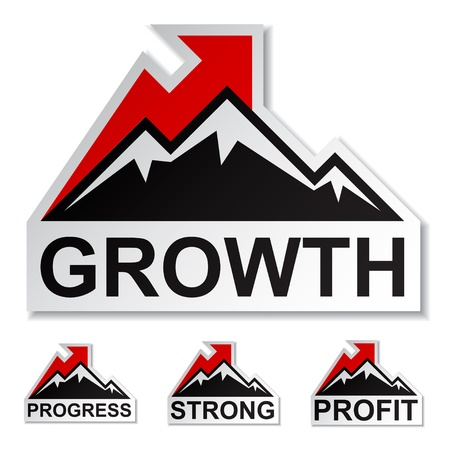 vector profit growth winter mountain stickers Vector
