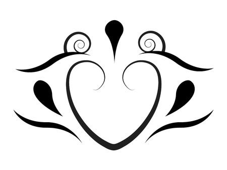 baroque border: Tattoo hearts