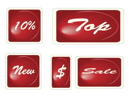 Set of red square labels Vector