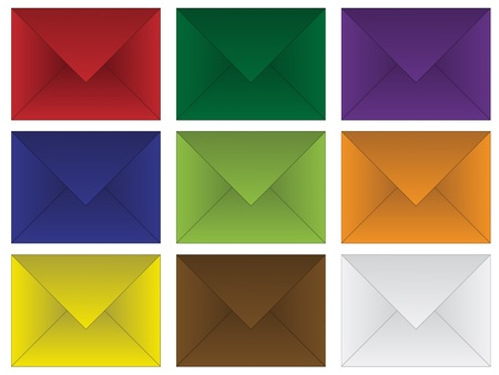 set of colored envelopes Vector
