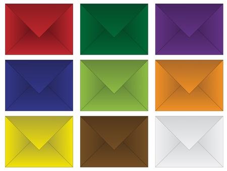 sobres de carta: un conjunto de sobres de colores