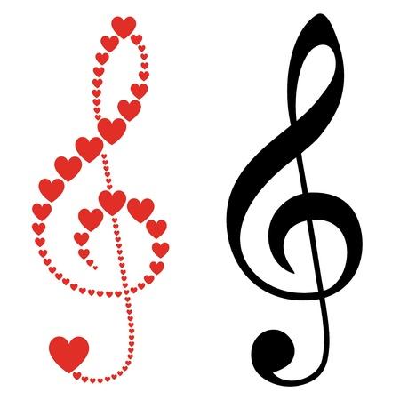 clef de fa: coeurs violon clef