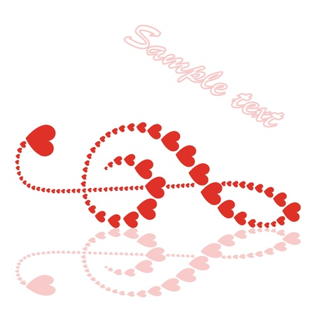 hearts violin clef Vector