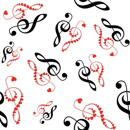 hearts violin clef seamless Ilustracja
